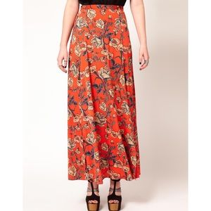 MINKPINK Inked Rose Maxi Skirt with slits
